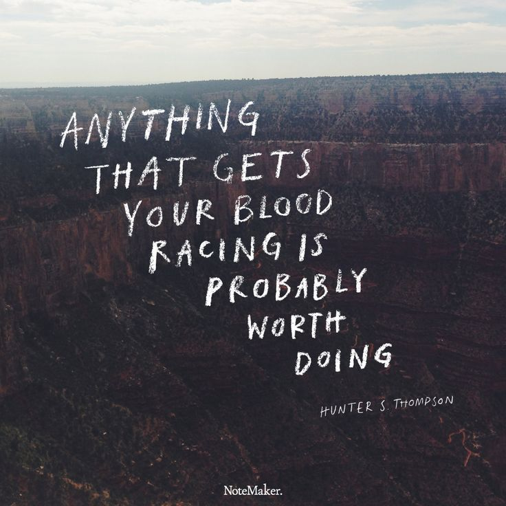 Anything that gets your blood racing is probably worth doing. - Hunter S. Thompson  thedailyquotes.com