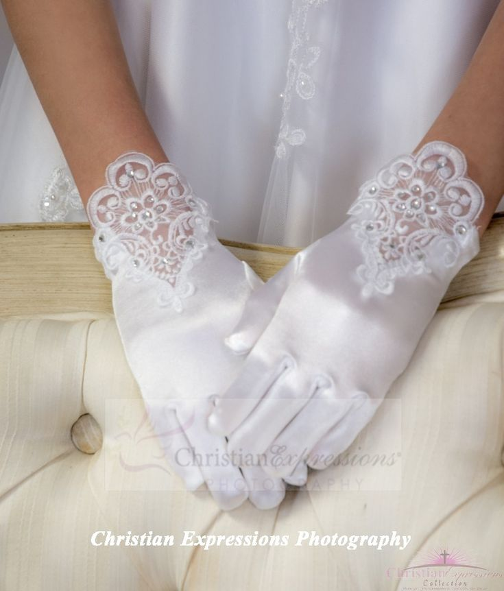 First Communion Gloves Satin and Lace
