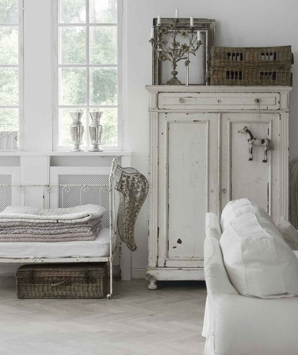 Ticking and Toile: Decor, Interior, Shabby Chic, Livingroom, Living Room, Cabinet, House, Shabbychic, White Room