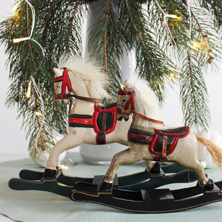 Vintage wooden rocking horses, and more Christmas gifts and decoration ideas.