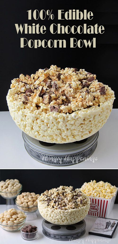 A Popcorn Bowl You Can Eat! Fun Food Recipe Idea for an edible White Chocolate Popcorn Bowl.