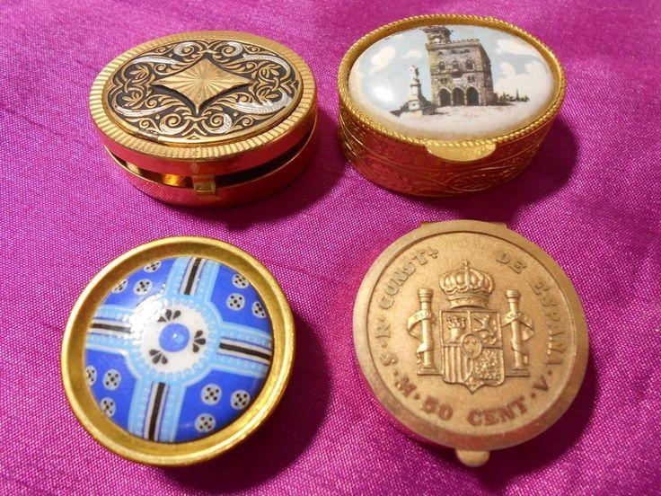 4 vintage pill boxes. 3 italian. 1 spanish