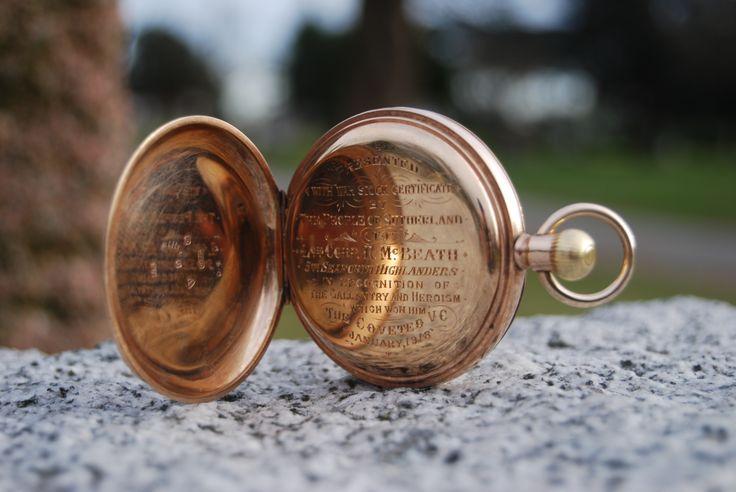 Fallen officer's watch is returned in November 2013. Constable Robert McBeath, EOW October 9, 1922.