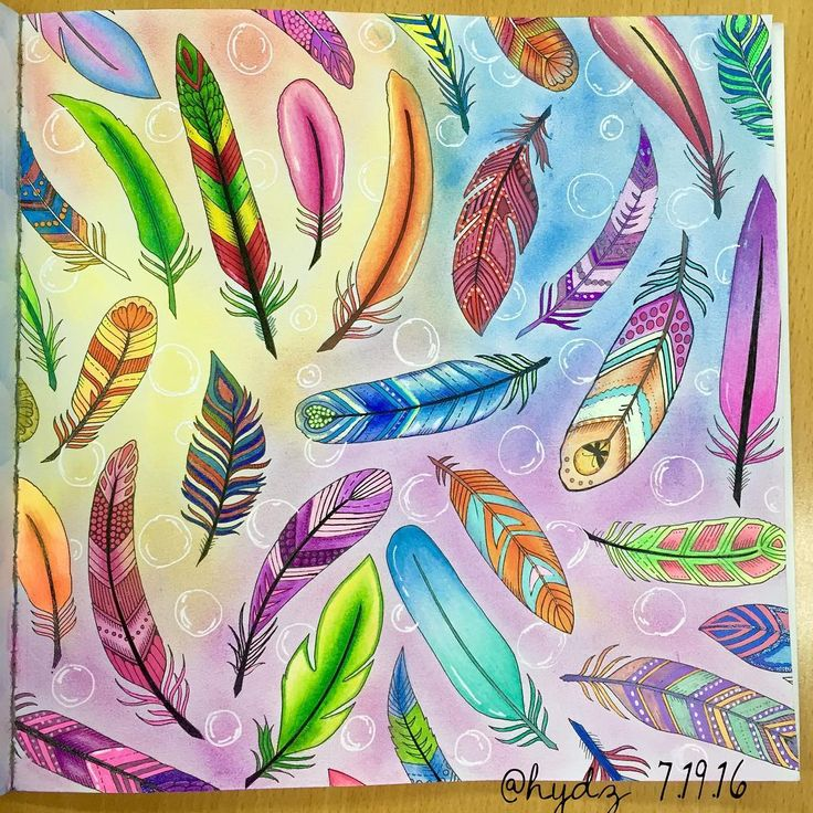 Feathers From Enchanted Forest By Johanna Basford Used Colored Pencils Gel Pens Soft Pastels For Background