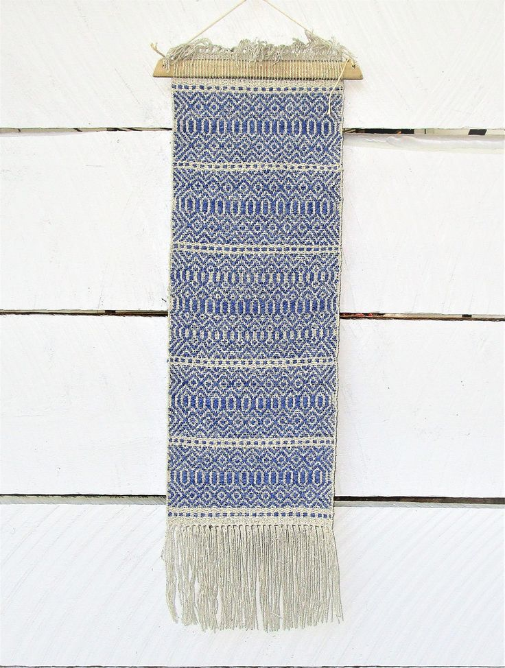 Silver and Light Blue Hand Woven Wall Hanging room decor. Rose Path pattern. Wool weft, silk warp wall art. 7″ by 25″. Small space art. B