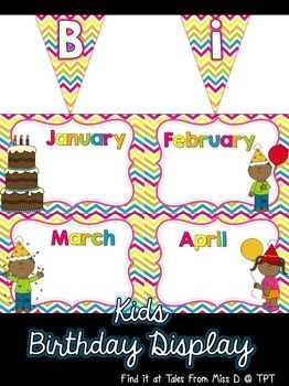 """Display your students' birthdays with this cute birthday chart! Included; 1) Bunting that spells out """"Happy Birthday!"""". Also includes a """"s"""" incase you would like to have the title as """"Birthdays!"""". 2) Poster for each month."""