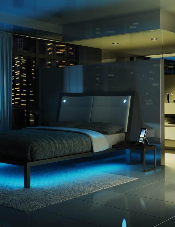 Amisco Furniture Bedroom Lounge Platform Bed Recessed Led Lights Led Strip Lights