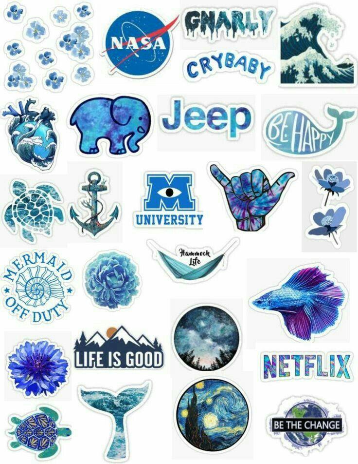 Pin By M O N Y On B L U E In 2019 Cute Stickers