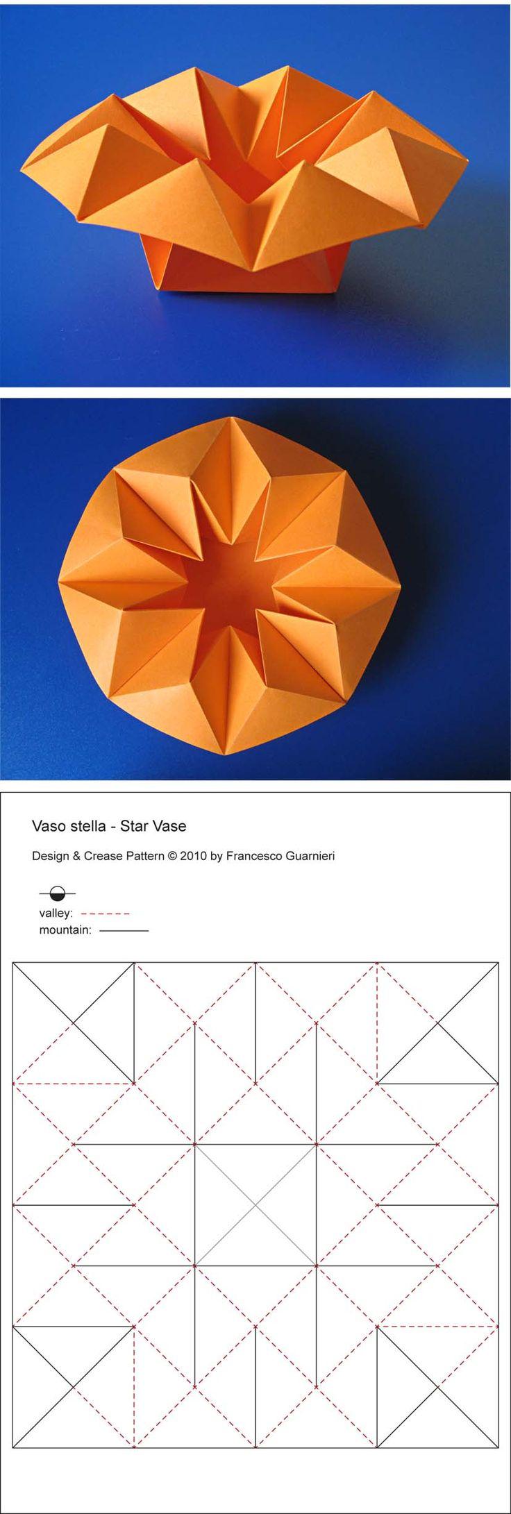 Origami box, CP: Vaso stella - Star Vase, from one uncut square of copy paper, 21 x 21 cm. Designed and folded by Francesco Guarnieri, April 2010.