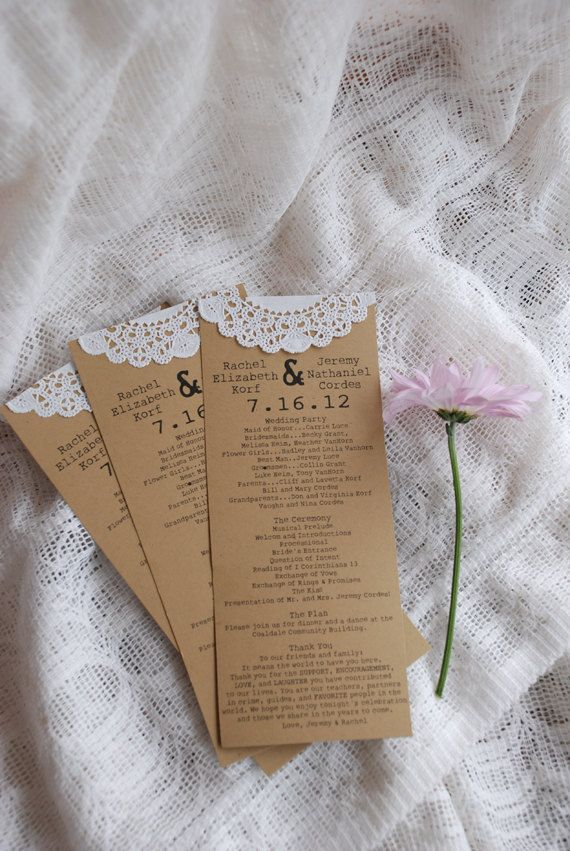 Vintage Lace Doily Wedding Programs- Save the Date - Baby or Bridal Shower  - Engagement Party - Escort Card. $165.00, via Etsy.