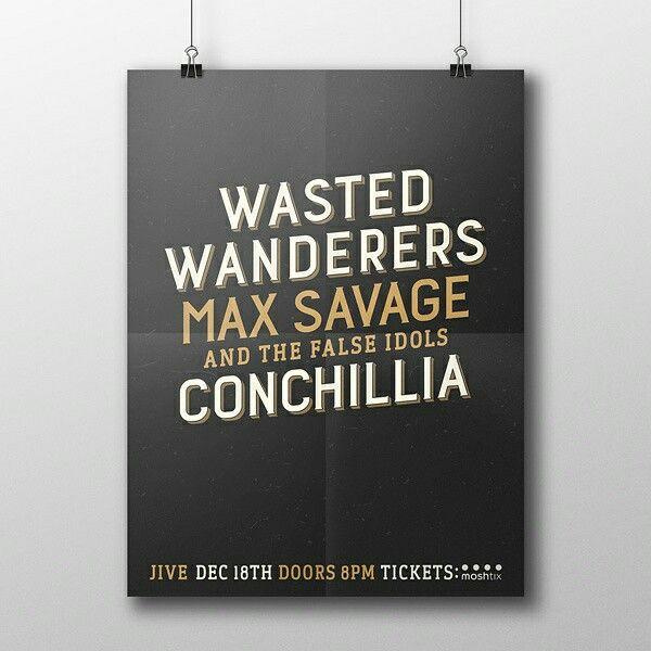 Minimal Gig Poster Design for Wasted Wanderers gig at Jive