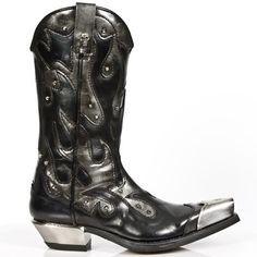 M7952P-C2 New Rock Black/Steel Grey Cowboy Boots w/ Metal Boot Tips