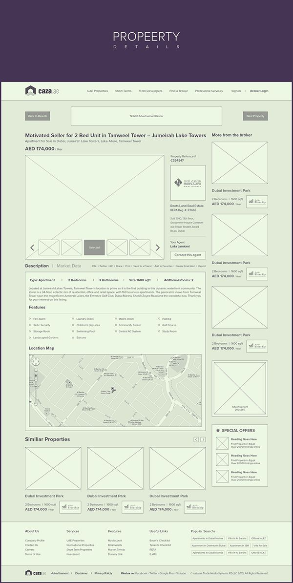 Caza - Property Listing Website - Branding + Wires by Waseem Arshad, via Behance
