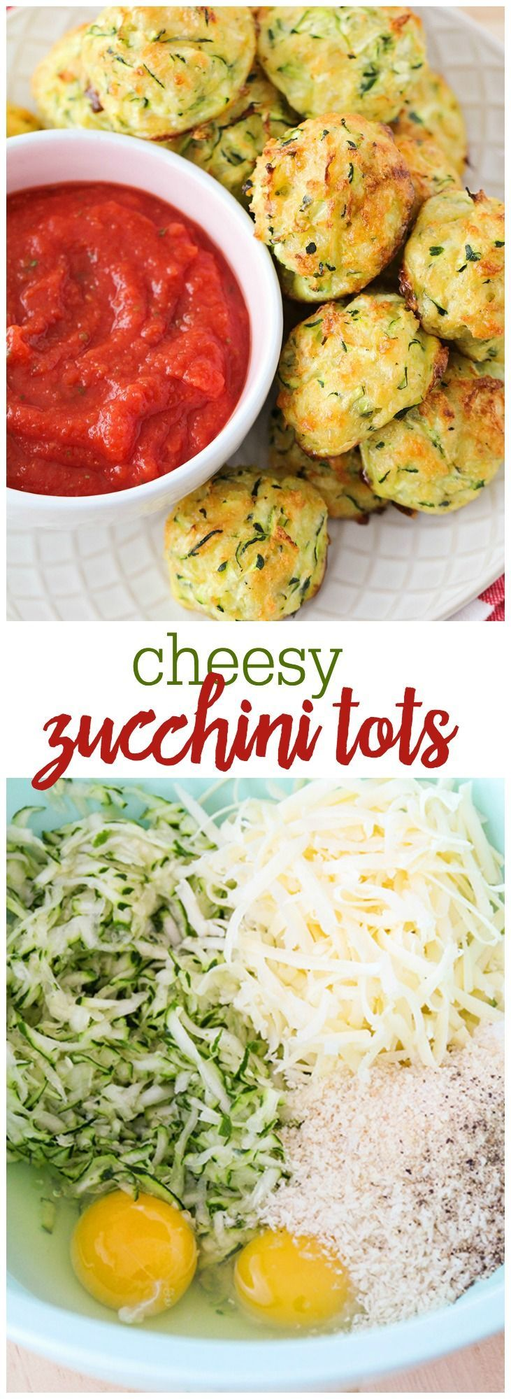 Cheesy Zucchini Tots - these tots are loaded with shredded zucchini, bread crumbs, and cheese making them the perfect appetizer.
