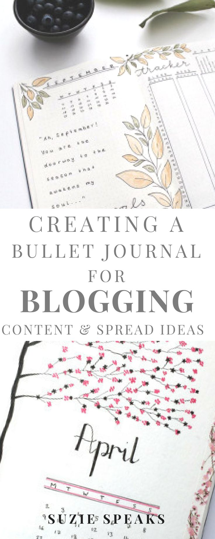 How to create a Bullet Journal for blogging - here's some ideas for creating weekly trackers and spreads #bulletjournal #bujo