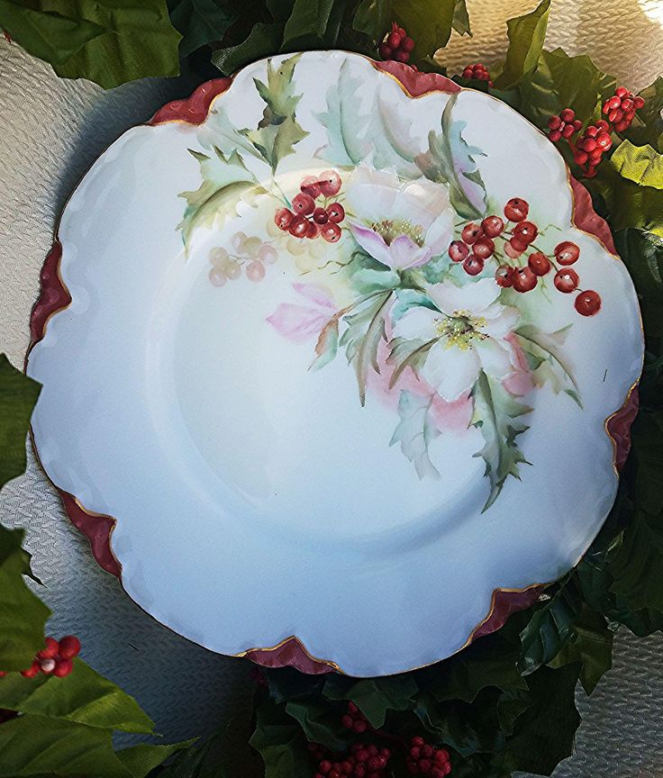 Havilland & Co. Limoges France 1898 Hand Painted 'Christmas Flowers with Holly & Berry' Floral Plate, Artist Signed