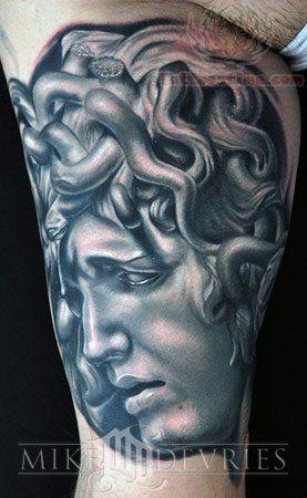 Medusa Grey Ink Tattoo