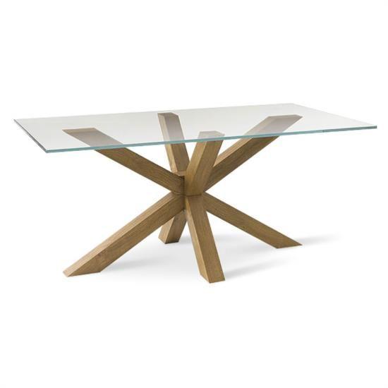 Tavolo con piano in vetro fisso ed una innovativa base in legno