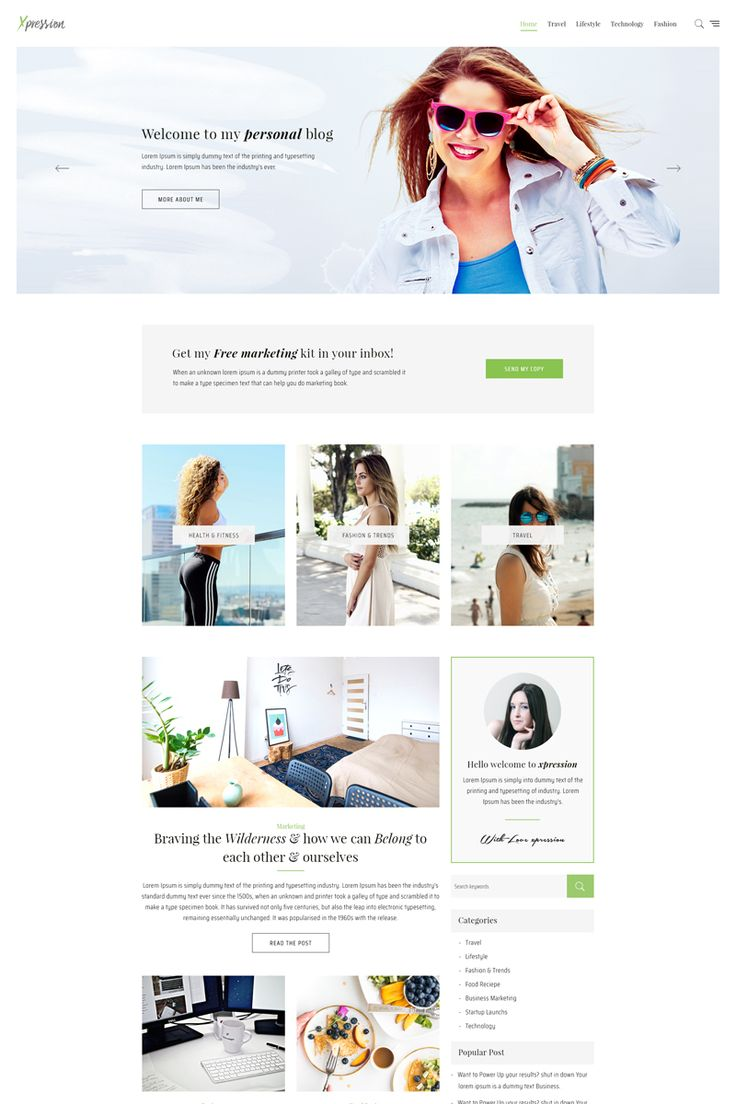 Minimal blog WordPress theme is a clean, modern and elegant theme which is suitable for your online personal blog, fashion blog, travel blog and more. #fashion #blog #travelling #wordpress   https://www.templatemonster.com/wordpress-themes/xpression-minimal-blog-wordpress-theme-68324.html