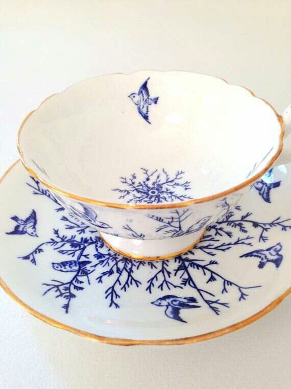 Blue and white teacup and saucer