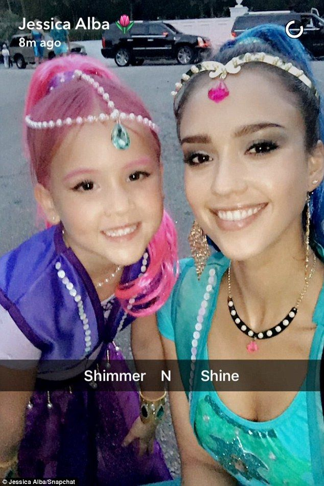 Cool mom! Jessica Alba, 35, dressed up as Shine, half of the animated duo from Nickelodeon's Shimmer And Shine, to partner with her daughter, Haven, 5, for Halloween on Saturday