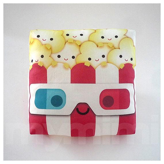 Decorative Pillow, Popcorn Pillow, Geek Pillow, 3D Glasses, Movie Night, Red and White, Kawaii, Cushion, Room Decor, Childrens Toys, 7 x 7""