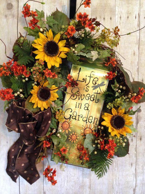 Summer Door Wreath Summer Wreaths Wreaths Front By Spratsdesign