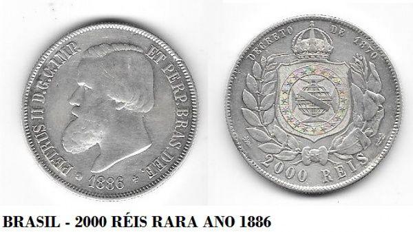 BRASIL - MOEDA DE PRATA DE 2000 RÉIS ANO 1886 (RARISSIMA) IMPÉRIO MBC - PEÇA EM EXCELENTE BOM ESTAD