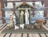 STABLE for NATIVITY Creche fits WILLOW TREE ANGELS (not included) Distressed Wood Rustic *Handmade in USA Wooden Stables Manger Angel pieces by Demdaco Sage Green Burgundy Red Antique White *SALE*