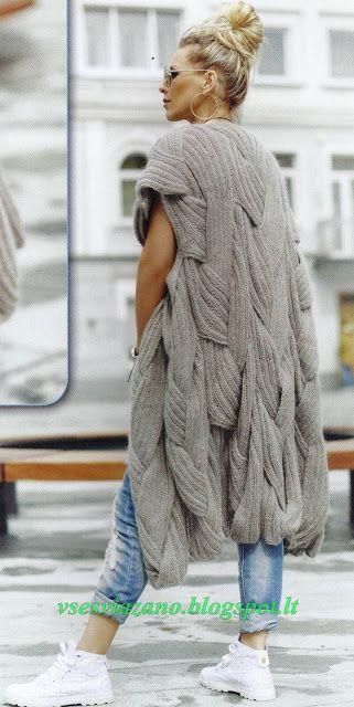 ВСЕ СВЯЗАНО. ROSOMAHA.: Cтильное весеннее пальто с плетеными косами.