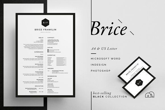 Resume/CV - Brice by bilmaw creative on @creativemarket Professional printable resume / cv cover letter template examples creative design and great covers, perfect in modern and stylish corporate business design. Modern, simple, clean, minimal and feminine style. Ready to print us letter and a4 layout inspiration to grab some ideas. In psd, indd, docs, ms word file format.