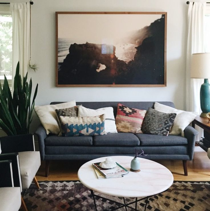 apartment living room furniture ideas. large scale artwork over sofa Best 25  Gray couch decor ideas on Pinterest Living room