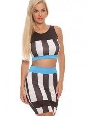 Black & White Stripe Bodycon Dress 2 Pieces Wrap Dress