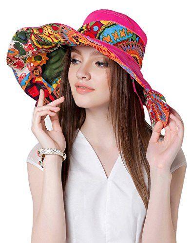 811d5690059 Women Large Brim Bucket Hats Anti-UV Foldable Beach Travel Flat Sun Hat Cap  Topee