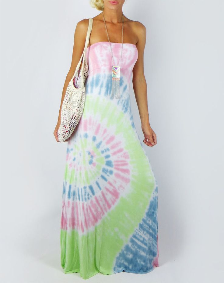 PASTEL TIE DYE SOFT KNIT EXTRA LONG MAXI DRESS OR FOLD OVER SKIRT SUN BEACH L #FashionTwenty #Maxi #Casual
