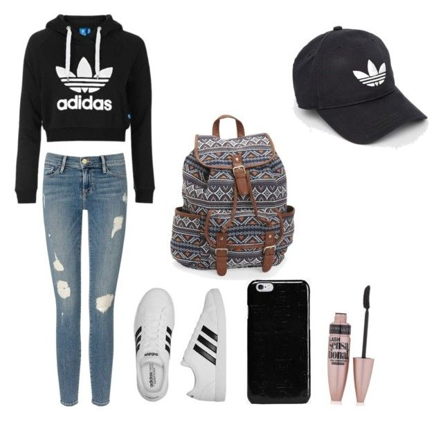 """""""Outd for Back to school💕"""" by juliette-soucy on Polyvore featuring mode, Topshop, Frame Denim, adidas, Aéropostale, Maison Margiela et Maybelline"""