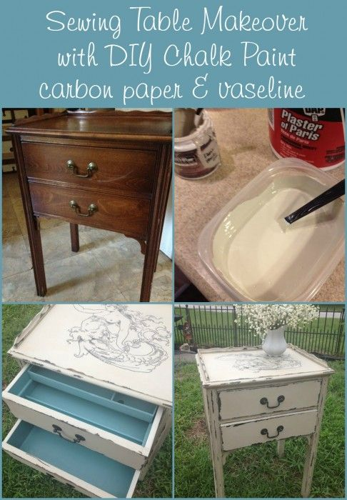 Sewing table makeover with DIY chalk paint, carbon paper transfer and vaseline technique for distressing