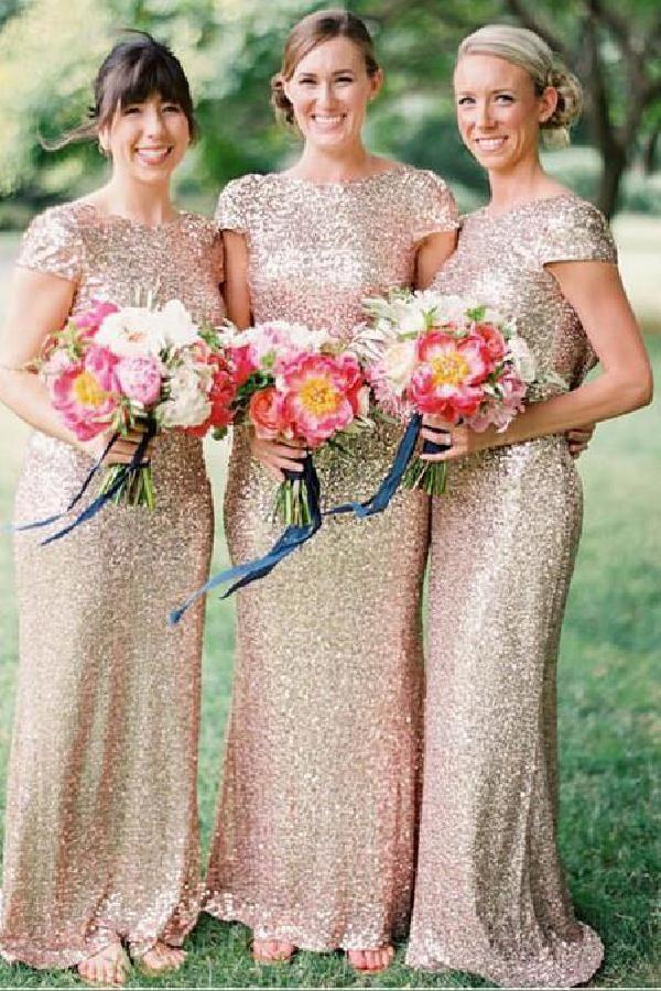 Luscious Shiny Golden Sequins Bateau Neck Cap Sleeve Sheath Long Bridesmaid Dresses Bridesmaiddresses2018 2018