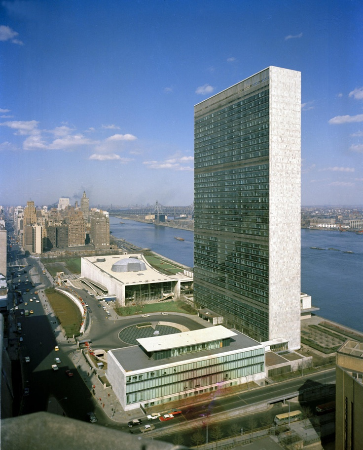 Niemeyer designed 39 story UN Building, NYC.  Completed 1952