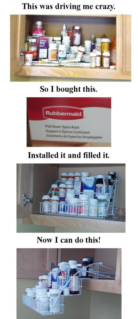 Organizing a medicine cabinet. I think this would be a great idea to organize spices too. by Jo-Ellen