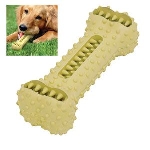 "Product # JB6539 - Cleans dog's teeth as they play! As your pooch chews and gnaws on the rubber bone, specially designed dental nubs help keep teeth clean, removing plaque and tartar & freshening their breath. Plus, add snacks for a tasty treat! 6""L x 2""W x 1-1/2""H.   $12.98"