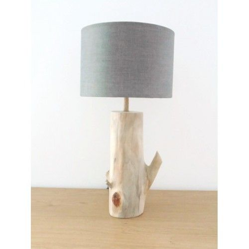 ampe bois flott abat jour rond gris cylindre cylindrique mod le unique. Black Bedroom Furniture Sets. Home Design Ideas