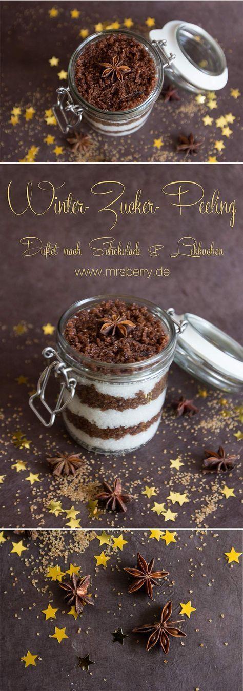 MrsBerry.de   Peeling selber machen: Rezept für Winter-Zucker-Peeling   Mit dem Winter-Zucker-Peeling nehmen wir den herrlichen, aromatischen Duft von süßer Schokolade und würzigem Lebkuchen mit unter die Dusche.