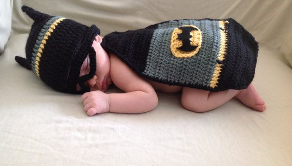 Handmade Crochet Batman inspired outfit set hat mask by SueStitch, $20.00