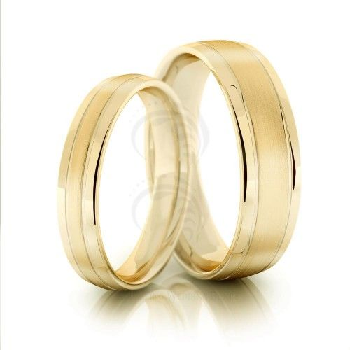 10k Yellow Gold Polish Brush Low Dome Ladies And Mens Wedding Rings 4mm, 6mm 02022