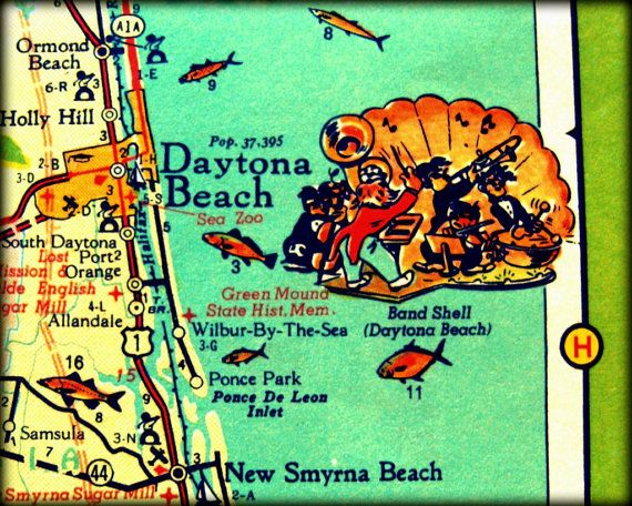 Vintage Map Photograph DAYTONA BEACH Florida #daytona