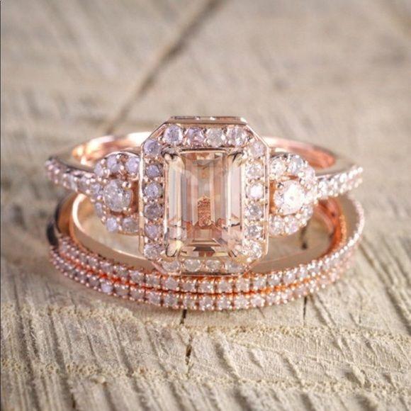 3 Piece Morganite Wedding Set Bridal Rings Gold Wedding Rings Wedding Ring Sets