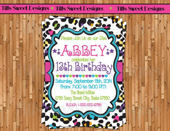 futureLeopard / Cheetah Print Invitation - Birthday Invitation - Colorful