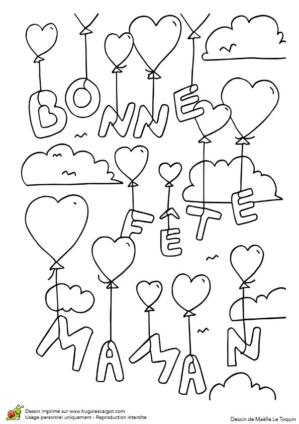 Lettres bonne fête maman avec ballons cœurs et nuages, à colorier