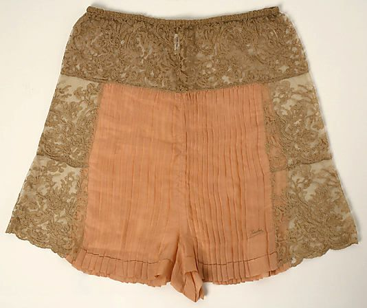 Underpants Christophe Date: 1920s Culture: French Medium: silk, cotton Dimensions: Length: 18 3/4 in. (47.6 cm) Credit Line: Gift of Mrs. C. O. Kalman, 1979 Accession Number: 1979.569.67